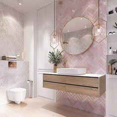 Modernes Badezimmer Modern pink bathroom vanity design, The va Bathroom Vanity Designs, Bathroom Interior Design, Bathroom Mirrors, Bathroom Cabinets, Bathroom Pink, Marble Bathrooms, Bathroom Goals, Bathroom Canvas, Boho Bathroom