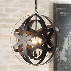 Double Metal Strap Globe Lantern - Shades of Light (orb, sphere light, chandelier, pendant) *industrial chic, loft, raw materials, factory, farmhouse, rustic, salvage style, vintage, urban, upcycle, recycle, reuse, found items, rust*