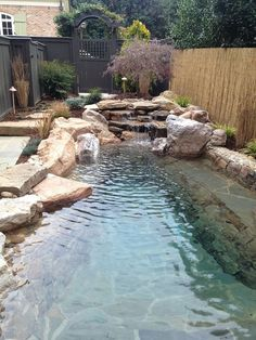 lighting to accent beautiful details of your water feature.Use lighting to accent beautiful details of your water feature. Backyard Pool Designs, Small Backyard Pools, Small Pools, Swimming Pools Backyard, Ponds Backyard, Swimming Pool Designs, Backyard Landscaping, Patio Design, Landscaping Ideas