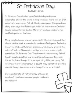 Free nonfiction passage about St. Patrick's Day with comprehension questions! For grades 1-2