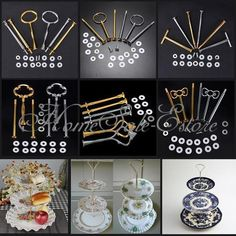 5 Sets 2 or 3 Tier Cake Plate Stand Handle Fitting Hardware Rod Wedding Party #Unbranded