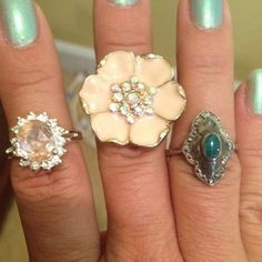 Set of 3 fashion rings ~size 7~ peach is 7 3/4 Beautiful rings light pink/silver green/silver peach/goldtone Jewelry