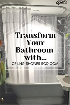 These innovative track-style shower rods allow free movement of the shower curtain. Walk In Tub Shower, Clawfoot Tub Shower, Walk In Tubs, Tub Shower Combo, Wet Room Bathroom, Upstairs Bathrooms, Small Bathroom, Shower Rods, Shower Curtain Rods