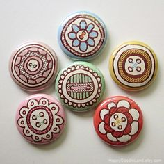 Button Button Pack  1 Inch Pin Back Badge by HappyDoodleLand