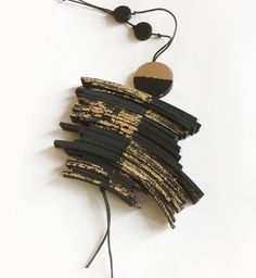 Black Leather Long Statement Necklace, Square leather tassel,  Gold Foil Necklace Contemporary Jewelry