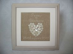 Personalised Wedding Button Heart Picture
