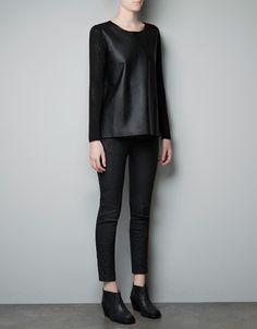 Zara FAUX LEATHER SWEATER £35.99