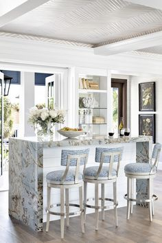 Lexington Home, Florida Home, Home Decor Fabric, Cottage Style, Great Rooms, Home Interior Design, Countertops, Beach House, Waterfall Island