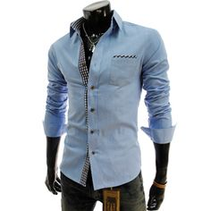 Slim Fit Check Patched Blue Shirt.