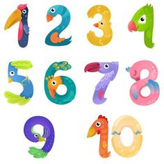 Illustration of Numbers like birds in fairy style vector art, clipart and stock vectors. Numbers For Kids, Numbers Preschool, Alphabet And Numbers, Preschool Activities, Different Birds, Creative Lettering, Color Vector, Vector Art, Banner Printing