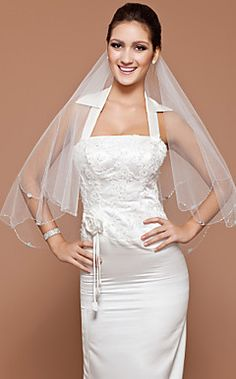 One-tier Fingertip Wedding Veil With Beaded Edge  – USD $ 14.99