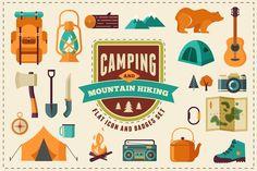 Camping & Hiking flat icon set by Marish on @creativemarket