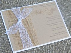 burlap and lace wedding invitations   Burlap and Lace Wedding or Shower Invitations ...   Wedding Wedding ...