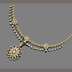 A late century pearl necklace The pearl floral fringe necklace, suspending a detachable similarly-set starburst pendant, pendant engraved 31 March. by josefina Victorian Jewelry, Antique Jewelry, Vintage Jewelry, Fringe Necklace, Pearl Necklace, Gold Fashion, Fashion Jewelry, Jewelery, Jewelry Necklaces