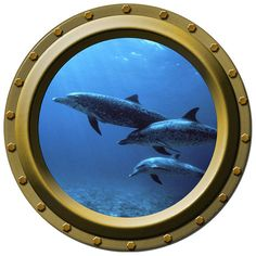 Dolphin Family Porthole Vinyl Wall Decal by WilsonGraphics on Etsy, $13.00