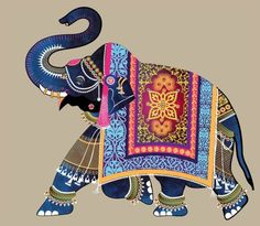 Wedding Correspondence Elephant Illustration for wedding invitations; Pichwai Paintings, Indian Art Paintings, Kalamkari Painting, Madhubani Painting, Elefante Hindu, Rajasthani Art, Elephant Illustration, Pattern Illustration, Madhubani Art