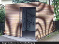 Exklusives Gartenhaus mit Schiebetür The most beautiful picture for wooden home decor , that suits y Garden Cabins, Modern Shed, Modern Carport, Bike Shed, Garden Buildings, Shed Storage, Bike Storage, Outdoor Living, Outdoor Decor