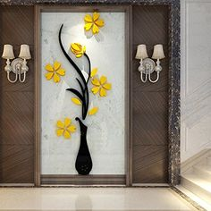 Vase Wall Murals for Living Room Bedroom Sofa Backdrop Tv Wall Background, Originality Stickers Gift, DIY Wall Decal Wall Decor Wall Decorations (Yellow, 30 X 12 inches) Diy Wall Painting, Mural Painting, Mural Art, Diy Wall Art, Home Wall Art, Diy Wall Decor, Wall Murals, Wall Decorations, Glass Design
