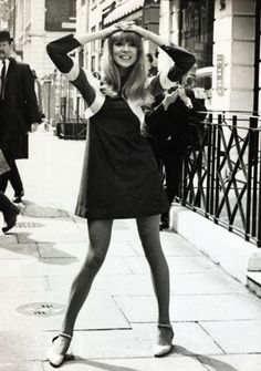 Pattie Boyd modeling one of the first mini dresses of the sixties.