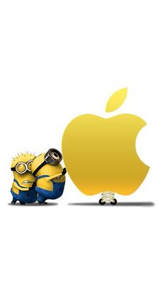 Minions pushing the apple logo