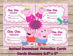 Peppa Pig Valentineu0027s Day Valentine Cards INSTANT By PartiesByG