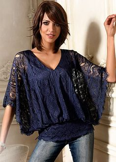 Facebook Share [Pin It] 	   	Add to Wishlist  	 	 Dark Blue (DKBL) Lace Sleeve Top $59 Freshen up your lace collection with kimono sleeves, a V-neck, and a fun blouson effect. ·  	100% Polyester   ·  	Imported