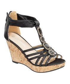 TOP MODA Black T-Strap Embellished Wedge Sandal | zulily