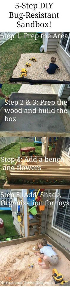 5 Easy Steps to make your own sandbox. These are great ideas! DIY tutorial.