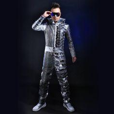 Mode Silber herren Overall Pailletten Spiegel Bühnenshow Performance Nachtclub Tragen Outfit Kleidung Männlichen Ds Dj Linsen Kostüm(China (Mainland))