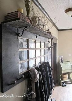 Old french door -shelf and coat hooks