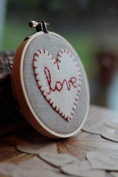 Embroidery Hoop Art. Hand-embroidered felt heart. Love Heartfelt Hoop Art, Valentine's Day gift by Catshy Crafts