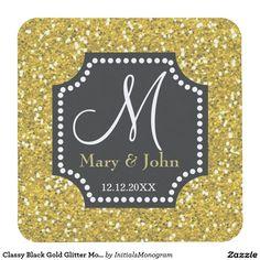 Classy Black Gold Glitter Monogram Wedding Square Paper Coaster