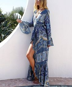This Blue & White Arabesque Surplice Maxi Dress - Women is perfect! #zulilyfinds