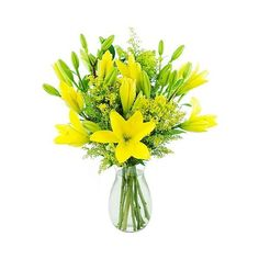 KaBloom Lemon Drop Lilies Fresh Flower Arrangement ($30) ❤ liked on Polyvore featuring home, home decor, floral decor, yellow bouquet, lily bouquet, yellow home accessories and lily flower arrangement