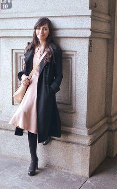 Coat, dress, heels. Dusty pink + slate grey.