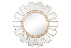 "Monika Wall Mirror, Gold on OneKingsLane.com 29"" round  $190  wood/glass    finish is silver and gold"
