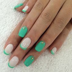 Nails. Mint. French tip. Alternative french tip. White accent. Manicure.