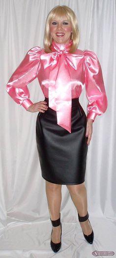 Pink Satin Blouse and Black Satin Pencil Skirt Pink Satin Blouse, Bow Blouse, Blouse And Skirt, Silk Satin, Dress Skirt, Rock Design, Sexy Bluse, Secretary Outfits, Satin Pencil Skirt