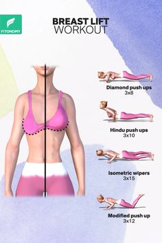 Say NO to the surgery and give it a try in the healthy way. Lift, perk, tone and get that perfect shape for your breasts with these four workouts. Say NO to the surgery and give it a try in the healthy way. Lift, perk, tone and get that perfect shape … Fitness Workouts, Gym Workout Tips, Fitness Workout For Women, Body Fitness, Workout Challenge, Easy Workouts, At Home Workouts, Physical Fitness, Workout Routines