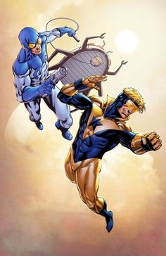 """comicsforever: """" Booster Gold & Blue Beetle // artwork by Robert Atkins and Simon Gough The dynamic duo of the Justice League International. Dc Comics Heroes, Arte Dc Comics, Dc Comics Characters, Comic Book Heroes, Comic Books Art, Comic Art, Book Art, Blue Beetle, Batman"""
