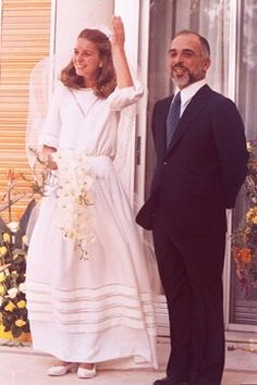 "King Hussein & Queen Noor of Jordan:  Their semi-private wedding on June 15, 1978 at Zaharan Palace was a simple Islamic ceremony. The queen described the day to CNN's Larry King ""as perhaps one of the most modest royal weddings of all time."" Although in this case, her ""simple"" included a Dior wedding dress."