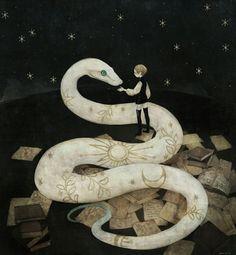 Art And Illustration, Art Inspo, Snake Art, Snake Totem, Art Populaire, Arte Obscura, Ouvrages D'art, Alphonse Mucha, Japanese Artists