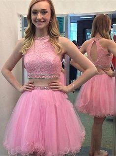 2 Pieces Homecoming Dress,Tulle Homecoming Dress,Beading Graduation Dress,Halter…