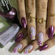 Cute Nails, Pretty Nails, The Art Of Nails, Lavender Nails, Magic Nails, Finger, Diy Nail Designs, Flower Nail Art, Purple Nails
