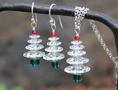 Winter White Christmas tree sterling silver necklace & earring set - clear, green and red Swarovski crystals - jewelry set for the Holidays