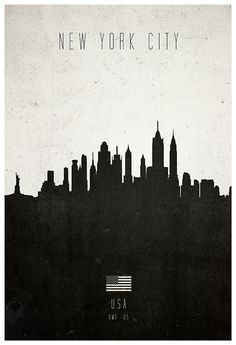 Contemporary graphic of New York skyline charting the diverse architecture of the city, from the Statue of Liberty to the Empire State - from Calm The Ham