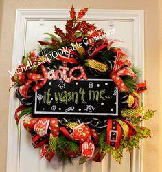Christmas Wreath, Santa Wreath, Santa Traditional Christmas Wreath, Christmas Deco Mesh Wreath by MaDoorableCreations on Etsy