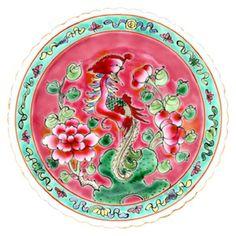 Peranakan plate featuring phoenix and peonies