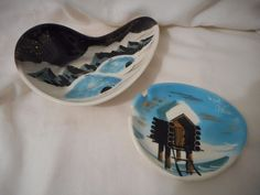 Vtg Lot 2 Matthew Adams Alaska Series Ashtray Dish California Pottery