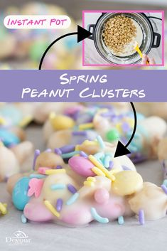Make Spring Peanut Clusters using an Instant Pot Pressure Cooker to melt chocolate smooth. Easy to make with Peanuts, Spring M&M's and White Chocolate. Top with Holiday Sprinkles for a fun and tasty treat. Peanut Clusters are America's Favorite and you can make at home. #devourdinner #devourpower #easyrecipe #peanutclusters #easycandy #easterrecipe #easter #bonappetitmag #thekitchn #recipeoftheday #americastestkitchen #buzzfeedfood #cooksillustrated #foodblogfeed #droolclub #makeitdelicious Chocolate Peanut Clusters, Melt Chocolate, Chocolate Almond Bark, Chocolate Coating, White Chocolate, Potluck Desserts, Delicious Desserts, Dessert Recipes, Baking Desserts